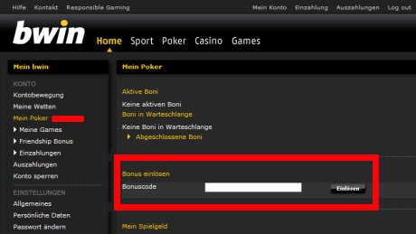 Optionaler Bonus Code Bwin