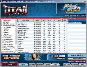 Titan Poker Software Lobby