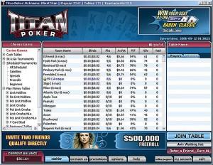 Titan Poker Software Lobby